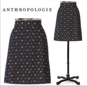 Anthro Odille Wallfia Grey Embroidered Skirt | 8